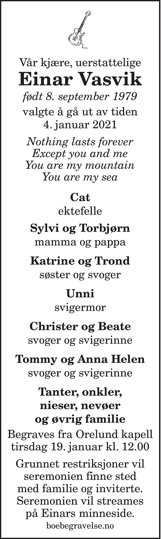 Einar Vasvik Dødsannonse