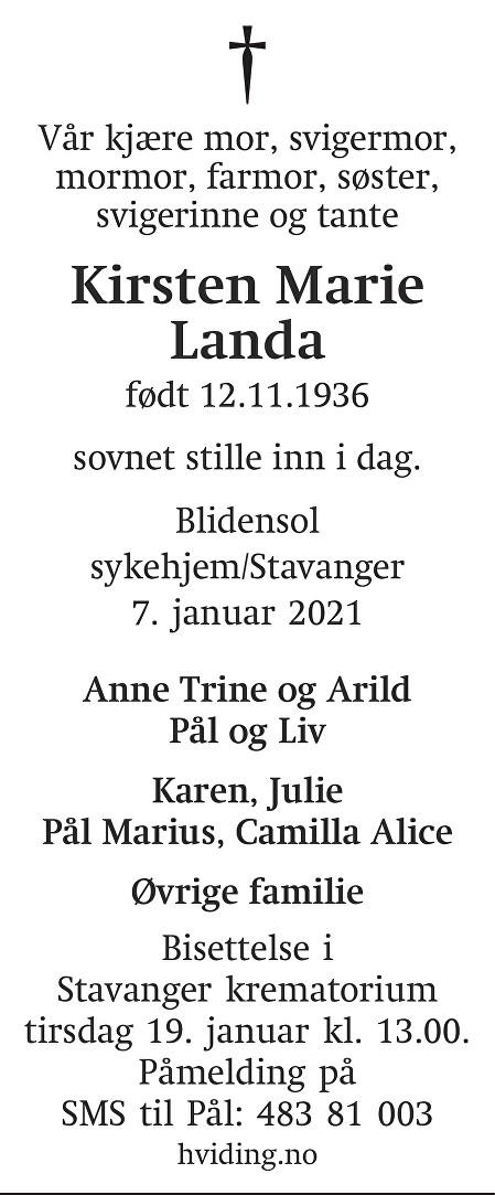 Kirsten Marie Landa Dødsannonse