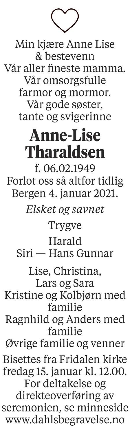 Anne-Lise Tharaldsen Dødsannonse