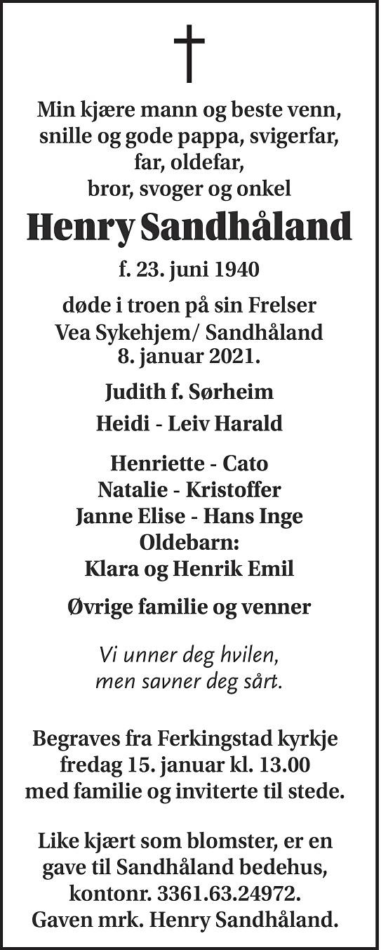 Henry  Sandhåland Dødsannonse
