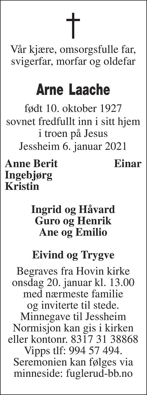 Arne Laache Dødsannonse