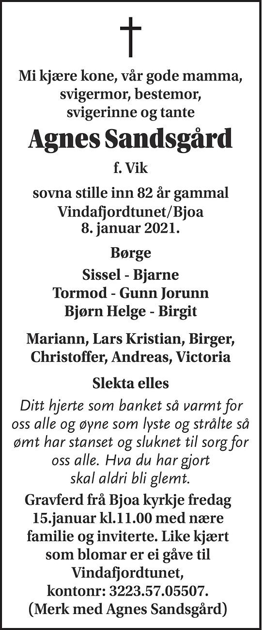 Agnes Sandsgård Dødsannonse