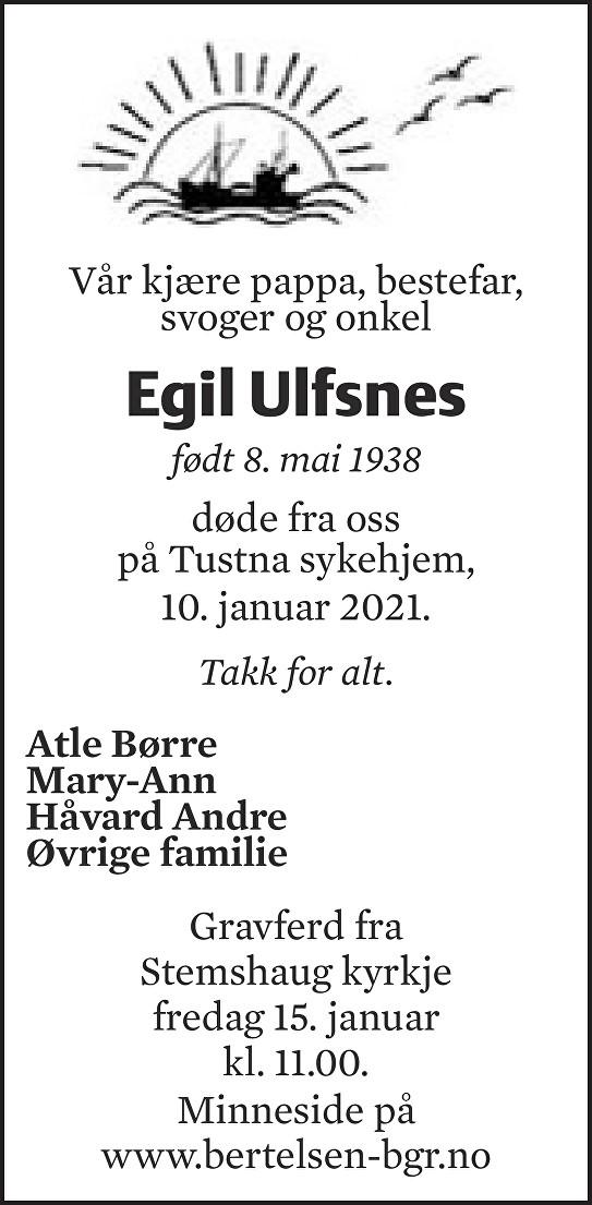 Egil Ulfsnes Dødsannonse