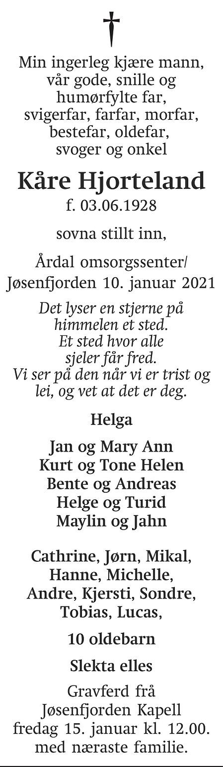 Kåre Leif Hjorteland Dødsannonse