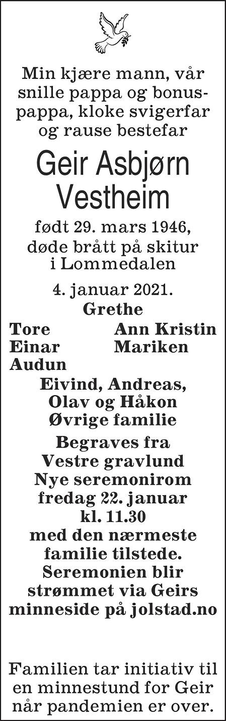 Geir Asbjørn Vestheim Dødsannonse