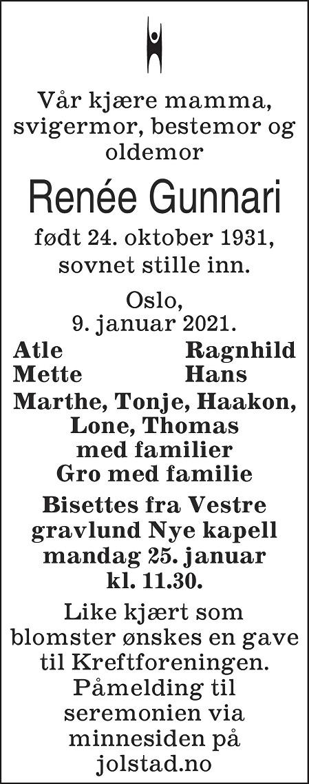 Renée Gunnari Dødsannonse