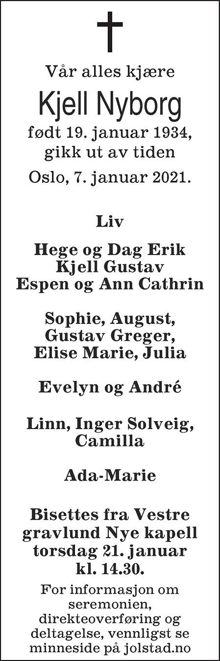 Kjell Nyborg Dødsannonse