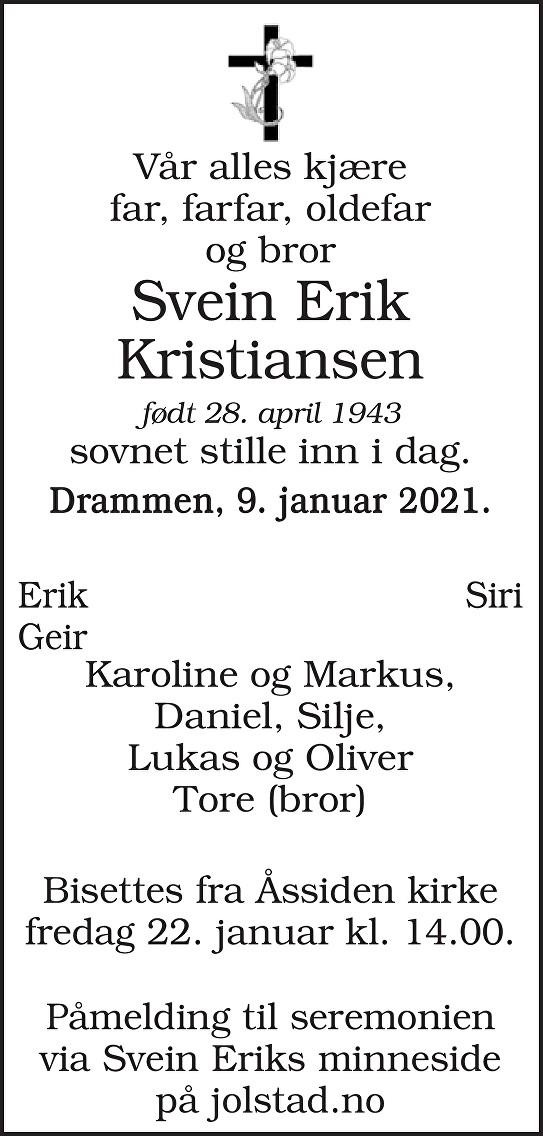 Svein Erik Kristiansen Dødsannonse