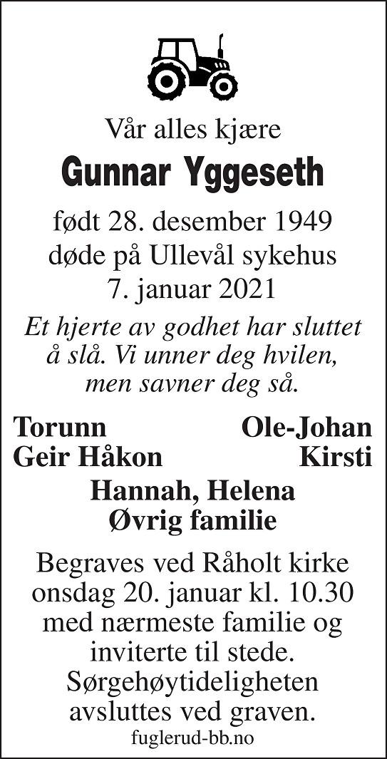 Gunnar Yggeseth Dødsannonse