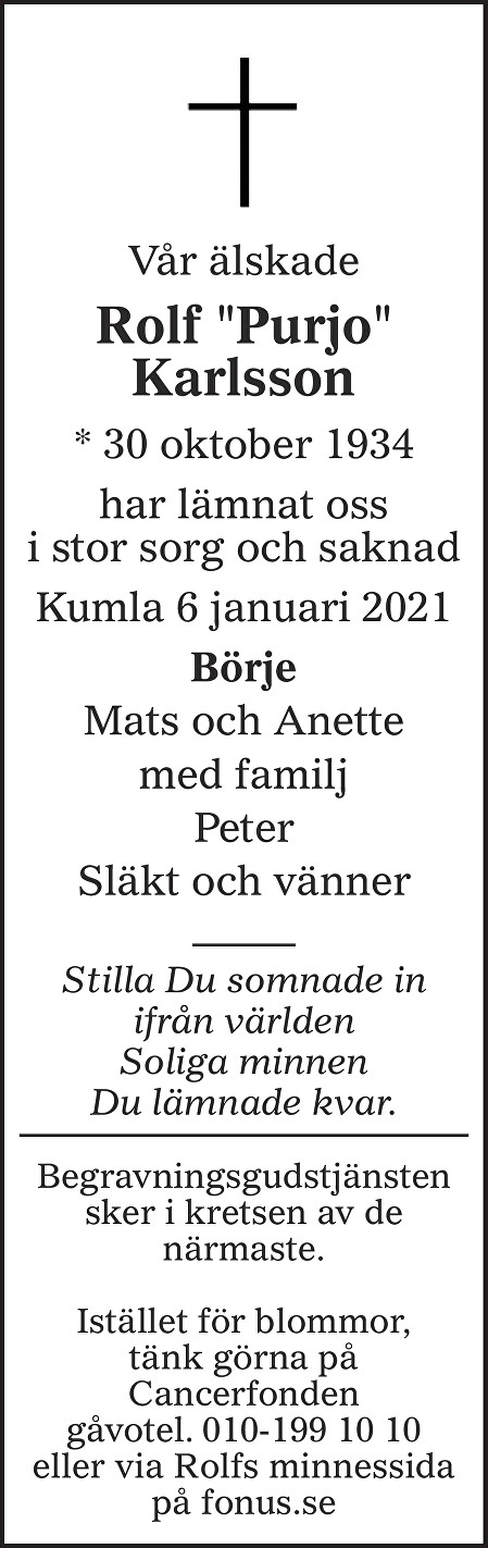 "Rolf ""Purjo"" Karlsson Death notice"