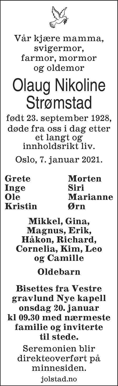 Olaug Nikoline Strømstad Dødsannonse