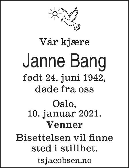 Janne Bang Dødsannonse