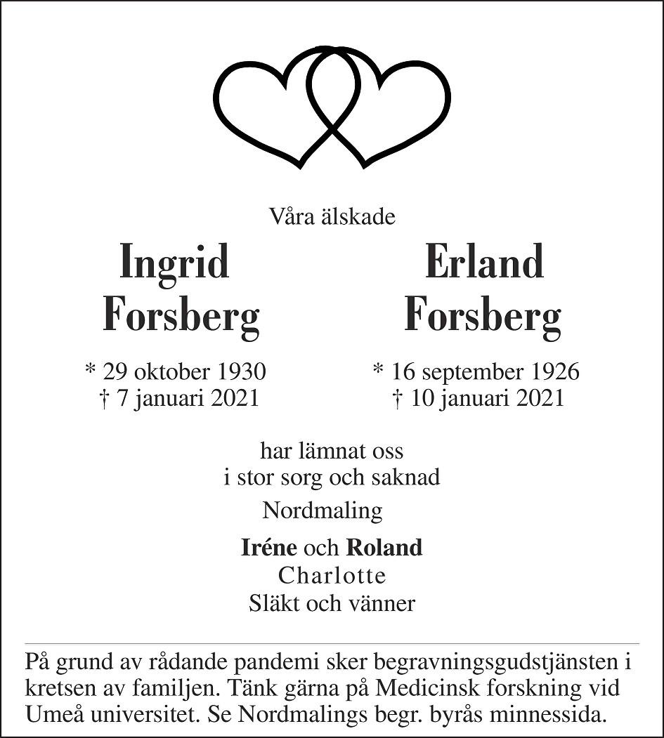 Ingrid Forsberg Death notice