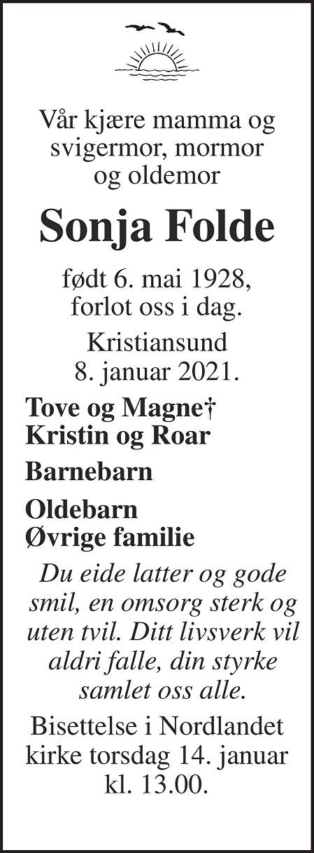 Sonja Folde Dødsannonse
