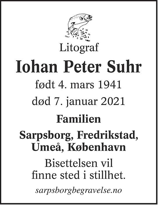 Iohan Peter Suhr Dødsannonse