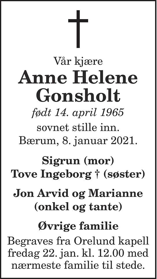 Anne Helene Gonsholt Dødsannonse