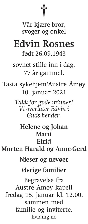 Edvin Rosnes Dødsannonse