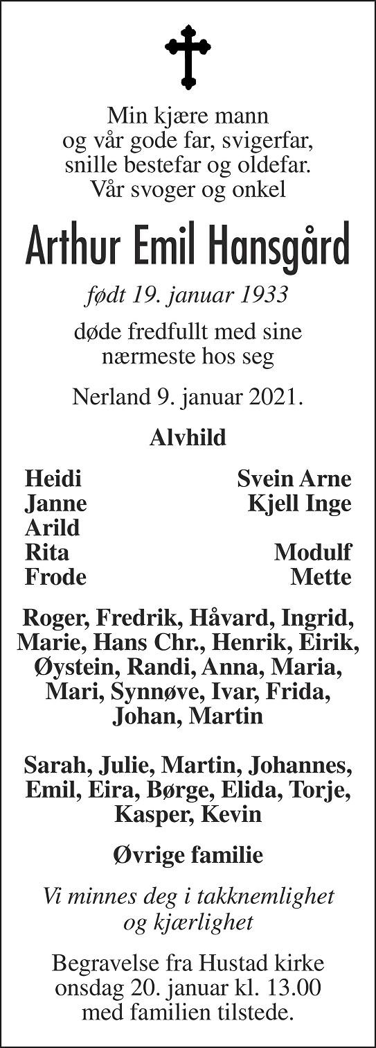 Arthur Emil Hansgård Dødsannonse
