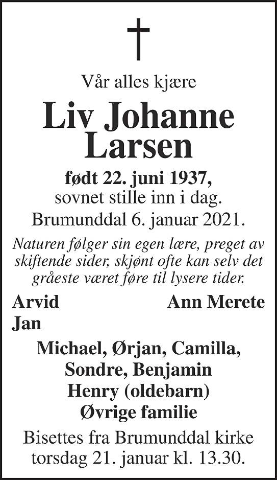 Liv Johanne Larsen Dødsannonse