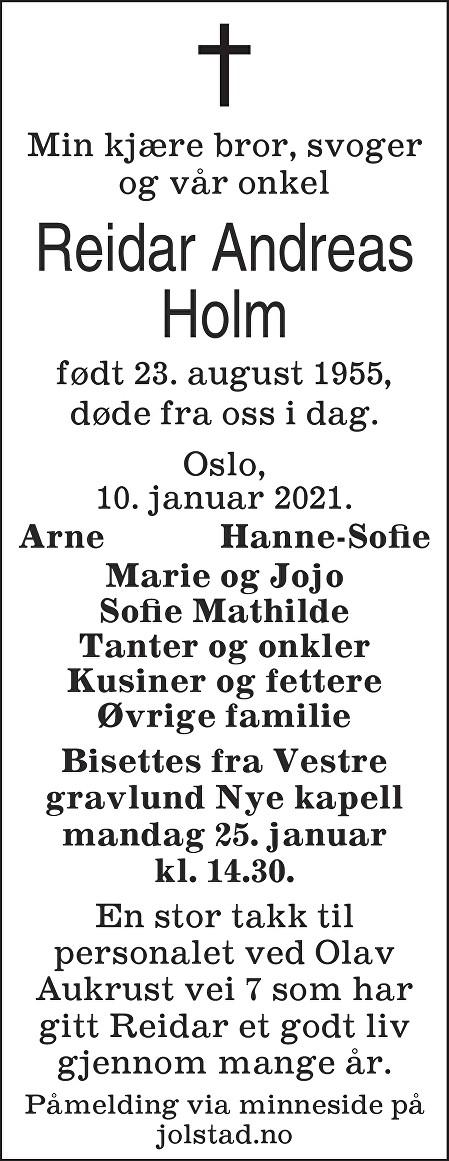 Reidar Andreas Holm Dødsannonse