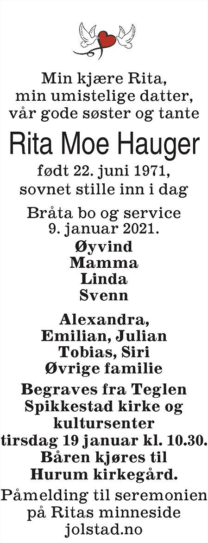 Rita Moe Hauger Dødsannonse