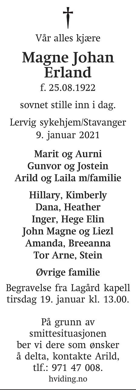 Magne Johan Erland Dødsannonse