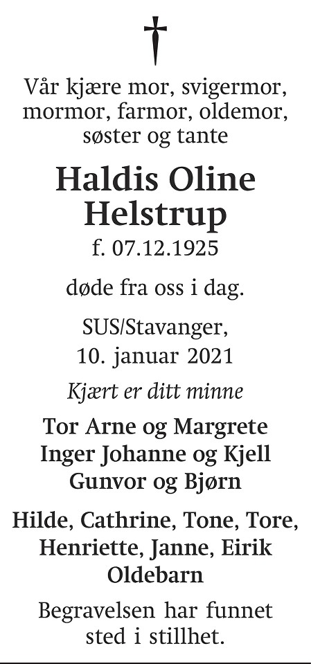 Haldis Oline Helstrup Dødsannonse