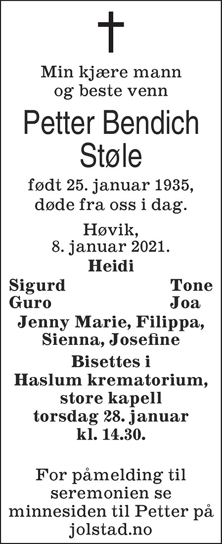 Petter Bendich Støle Dødsannonse