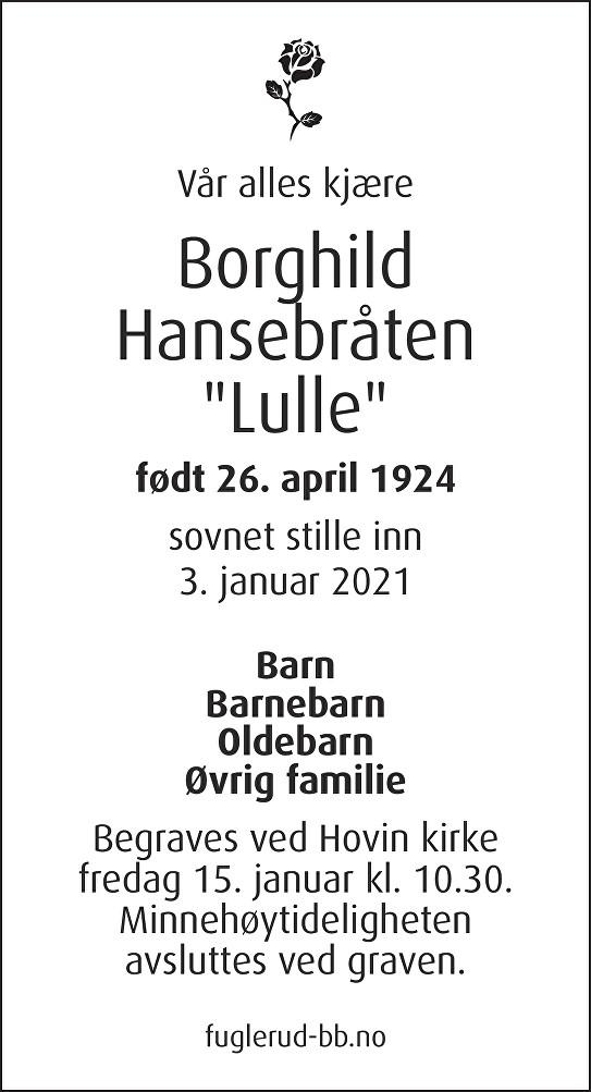Borghild Hansebråten Dødsannonse