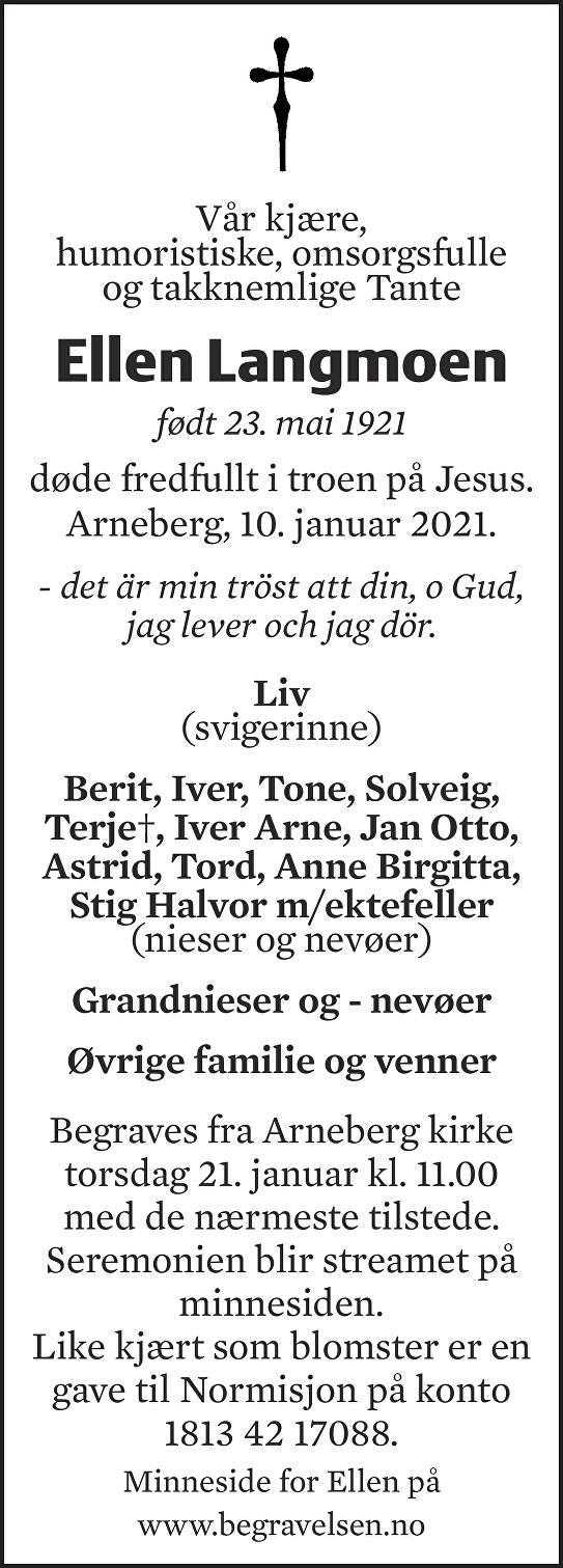Ellen Margrethe Langmoen Dødsannonse