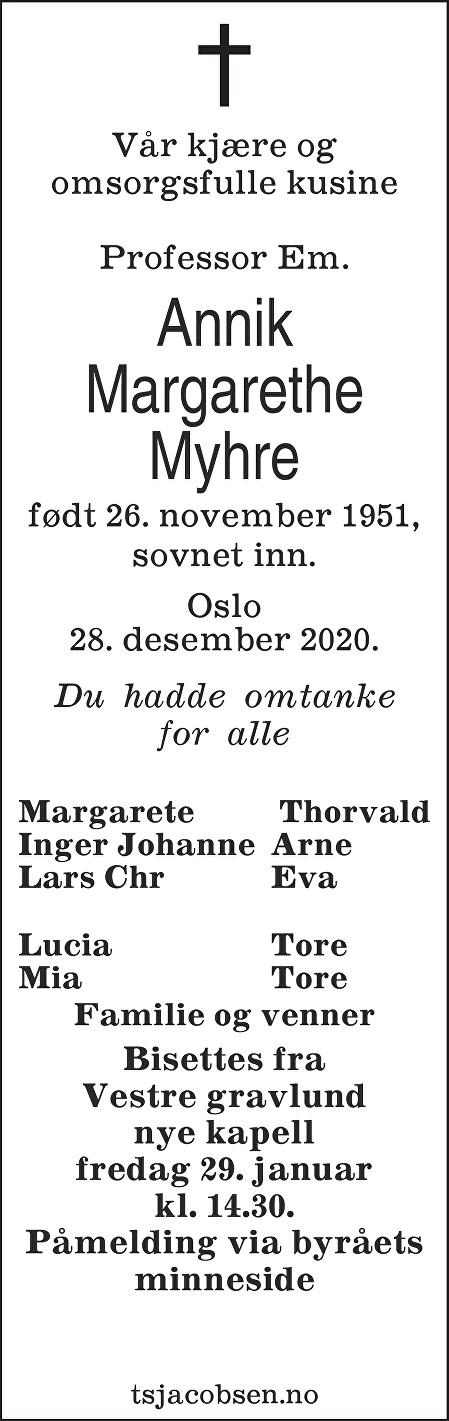 Annik Margarethe Myhre Dødsannonse