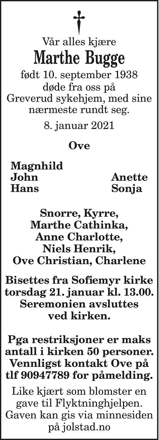 Marthe Bugge Dødsannonse