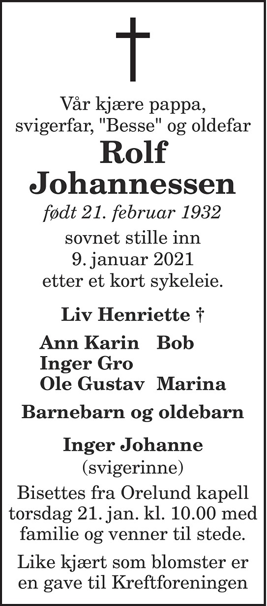 Rolf Johannessen Dødsannonse
