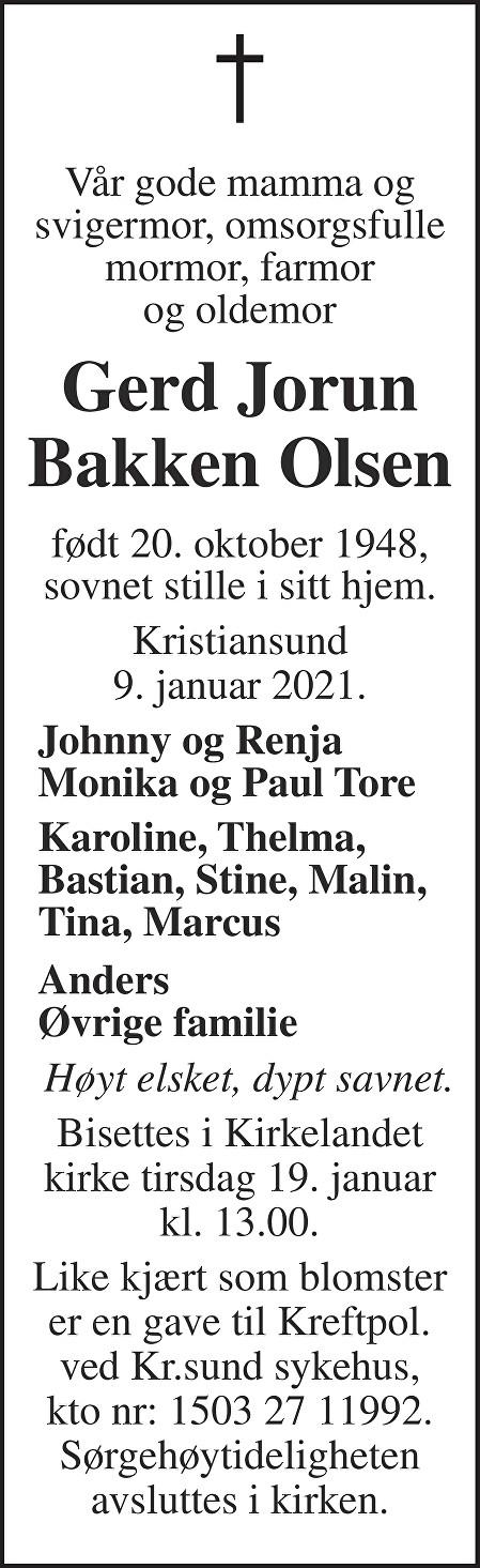 Gerd Jorun Bakken Olsen Dødsannonse