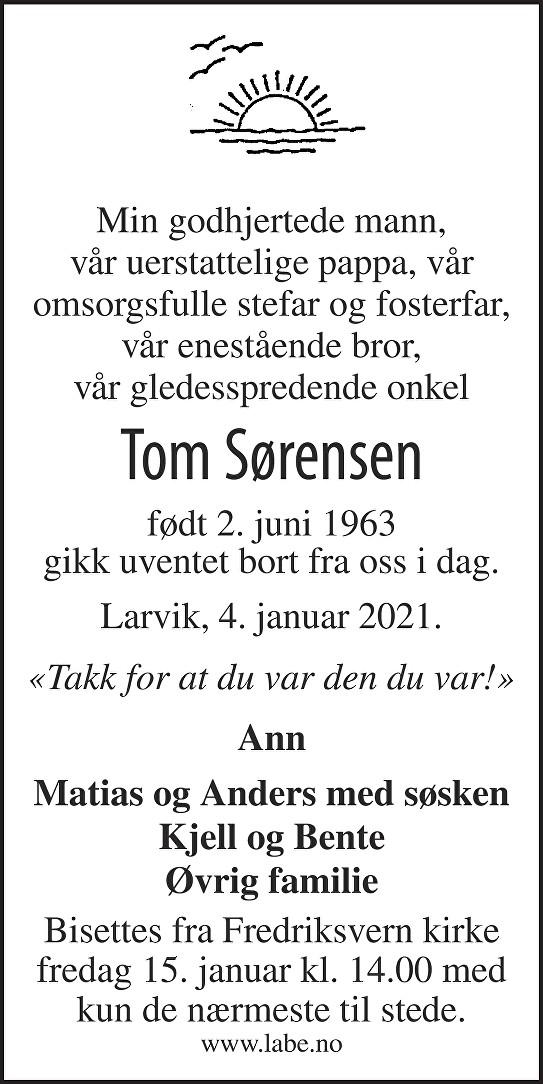 Tom Sørensen Dødsannonse
