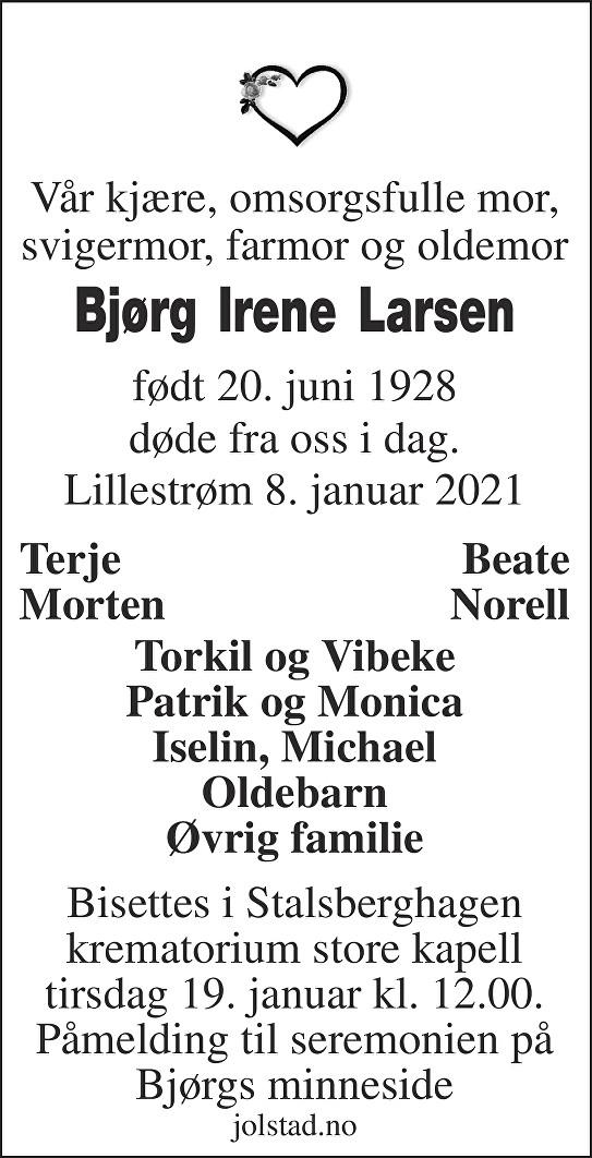 Bjørg Irene Larsen Dødsannonse