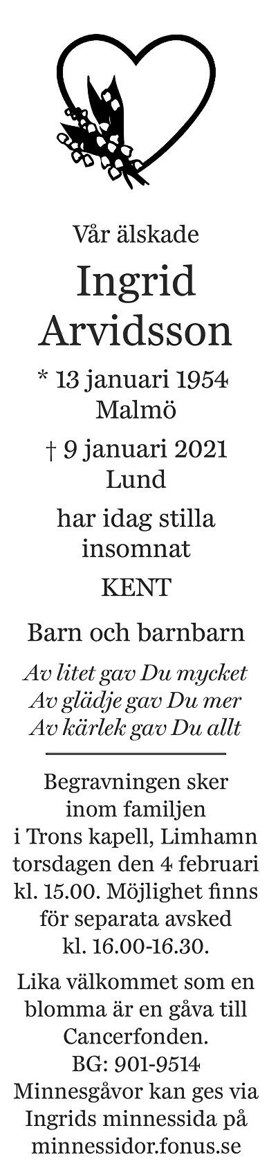 Ingrid Arvidsson Death notice
