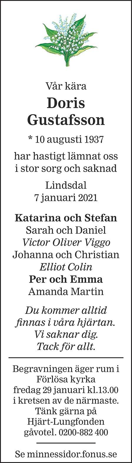 Doris Gustafsson Death notice