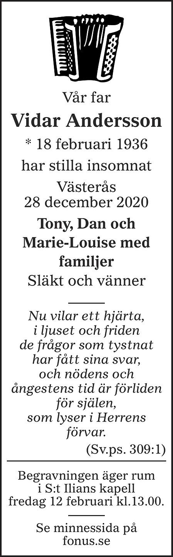 Vidar Andersson Death notice