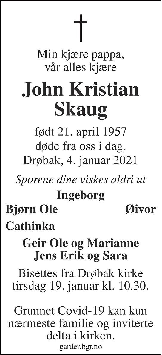 John Kristian Skaug Dødsannonse