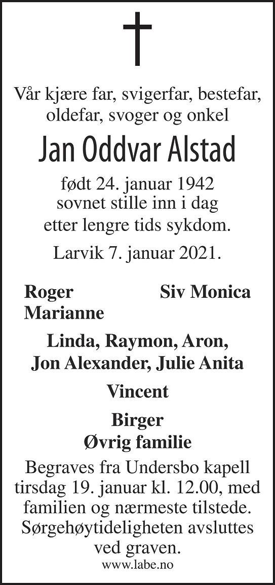 Jan Oddvar Alstad Dødsannonse