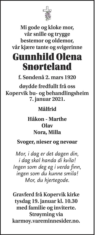 Gunnhild Olena Snørteland Dødsannonse