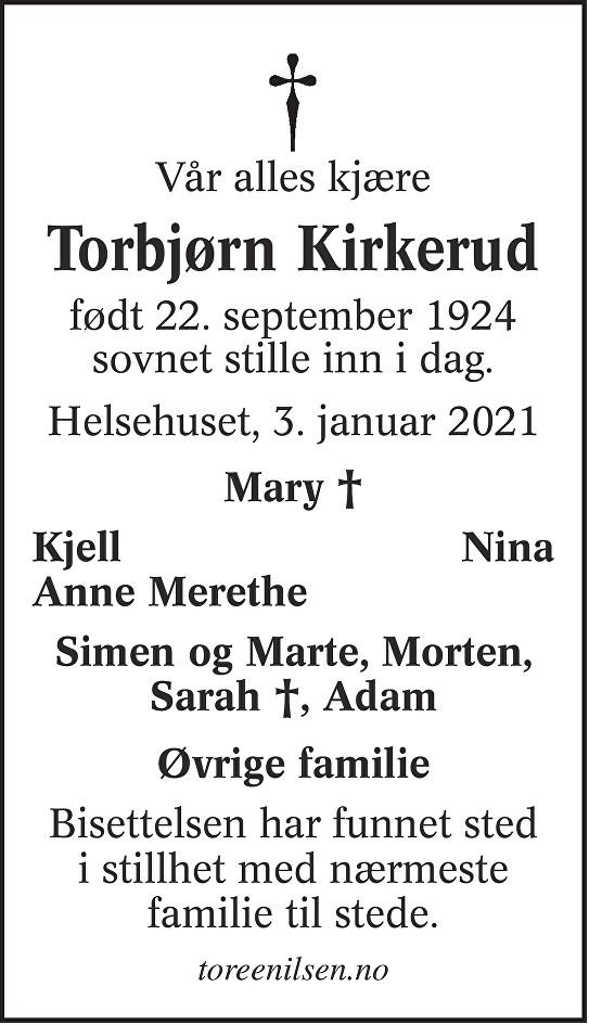 Ole Torbjørn Kirkerud Dødsannonse