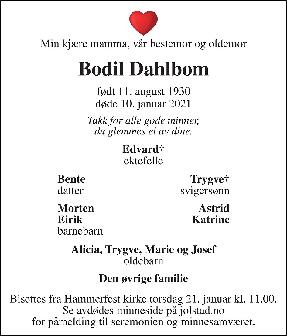 Bodil Dahlbom Dødsannonse