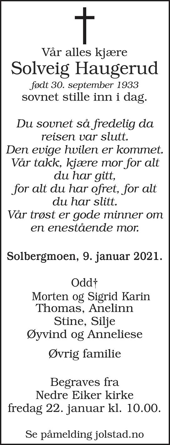 Solveig Helene Haugerud Dødsannonse