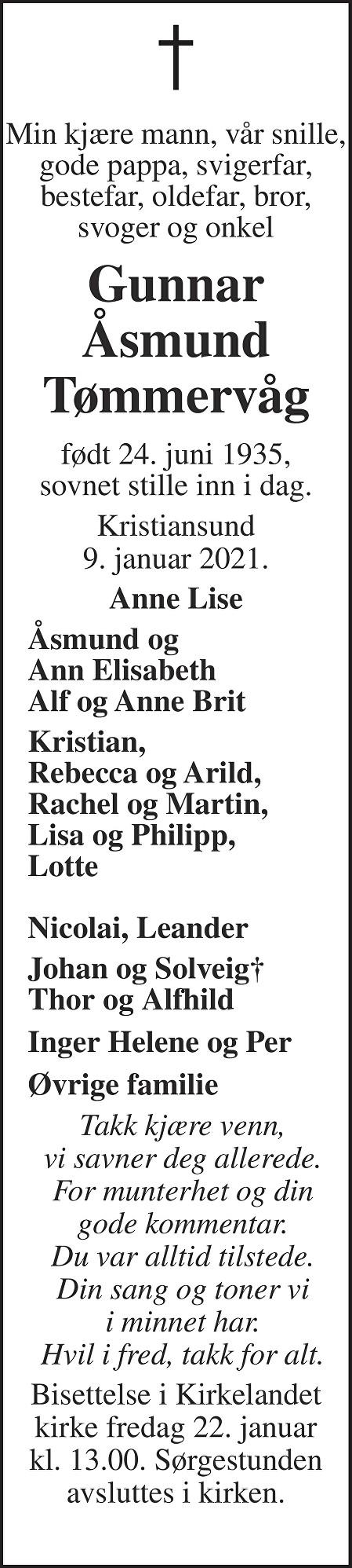Gunnar Åsmund Tømmervåg Dødsannonse