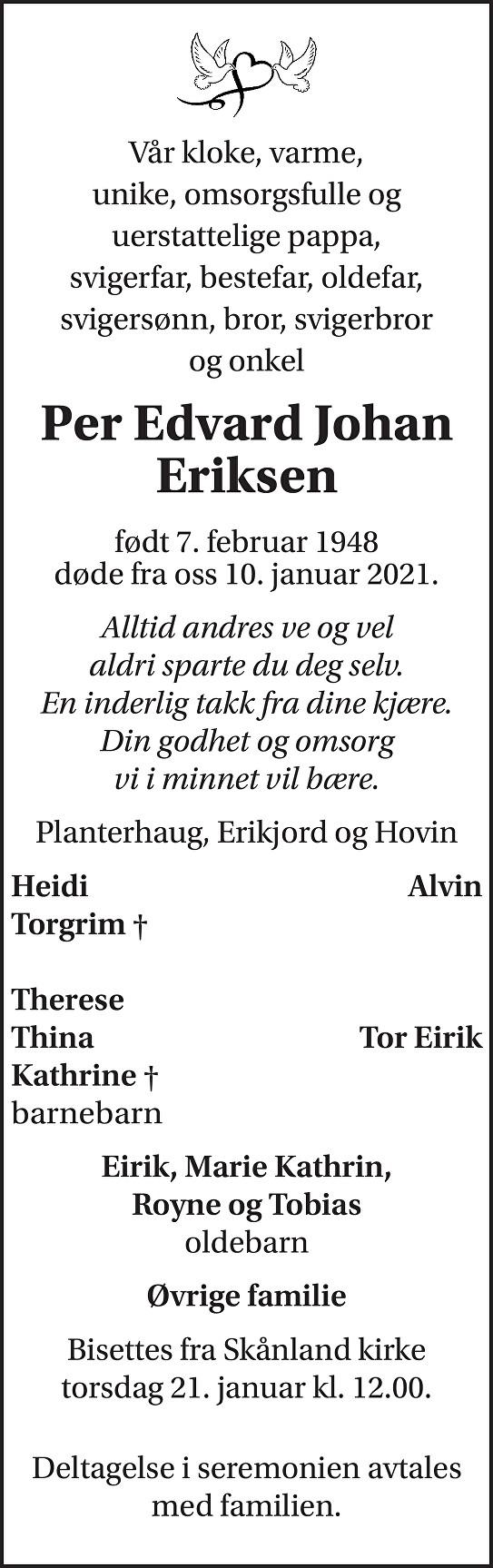 Per Edvard Johan Eriksen Dødsannonse
