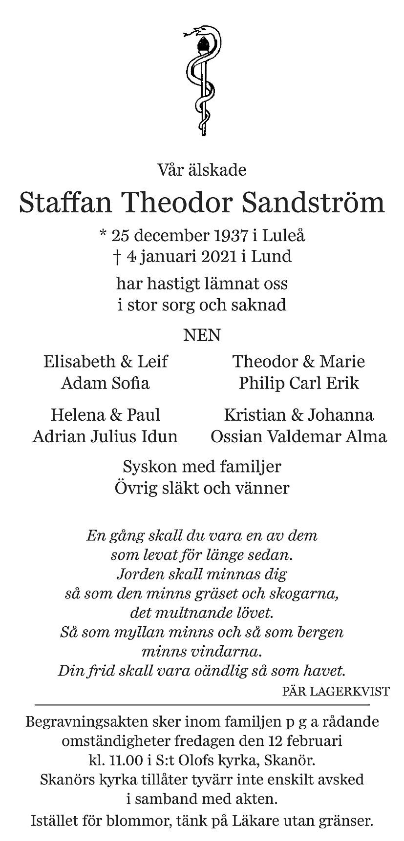 Staffan Sandström Death notice