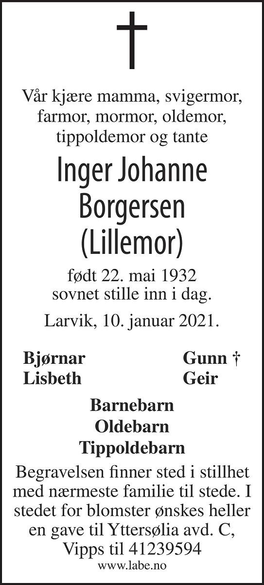 Inger Johanne Borgersen Dødsannonse