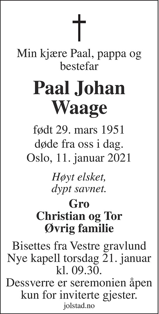 Paal Johan Waage Dødsannonse